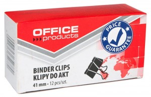 Klipy do dokumentów OFFICE PRODUCTS, 41mm, 12szt., czarne